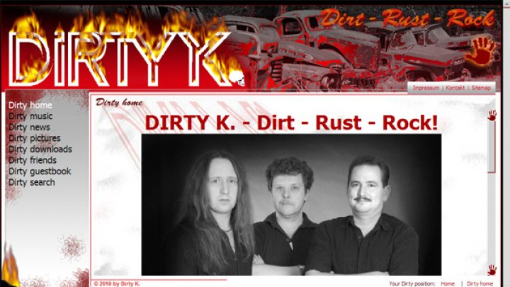 Homepage der Rockband DIRTY K.